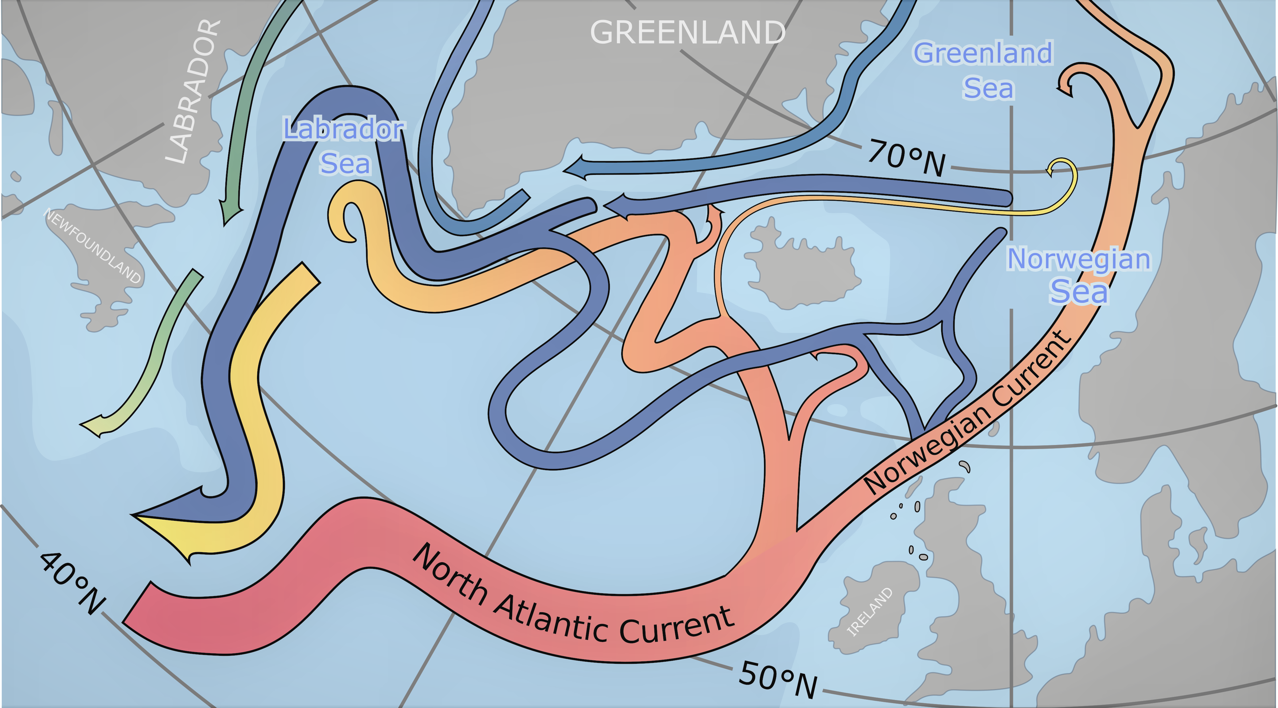 Atlantic currents system, by NASA